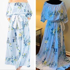 New EShakti Floral Blouson Maxi Dress XL 16